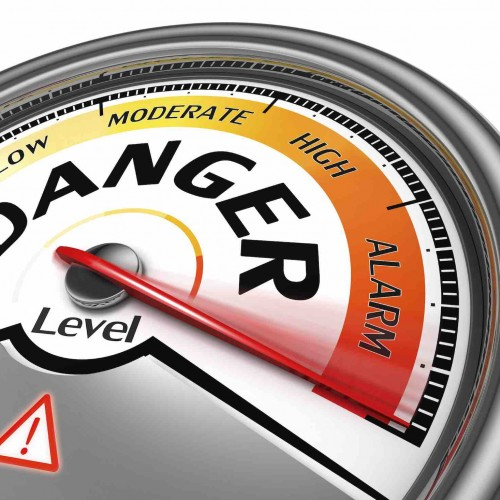 danger level conceptual meter indicate hundred per cent, isolated on white background